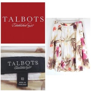 Talbots Watercolor Pleated A Line Skirt sz 10 Full